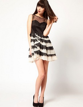 Image 4 ofNishe Dress with Pleated Skirt and Heart Mesh Detail