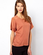 Selected - Top di seta con borchie dorate