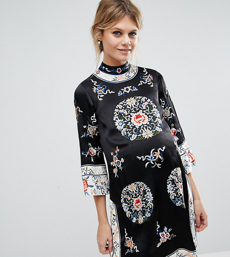 ASOS Maternity Embroidered Tunic Shift Dress