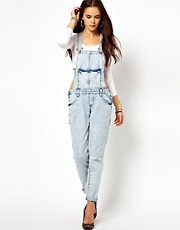River Island Acid Wash Dungarees