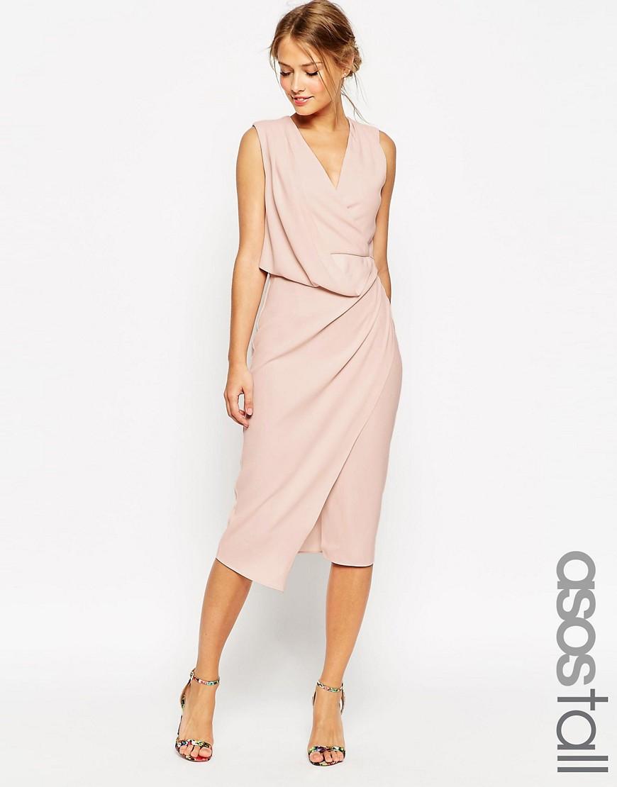 ASOS TALL WEDDING Wrap Drape Midi Dress - Pink