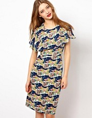Peter Jensen Cape Dress in Scenic Print Silk