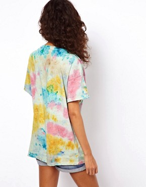 Image 2 ofASOS Square T-Shirt with V Neck in Tie Dye
