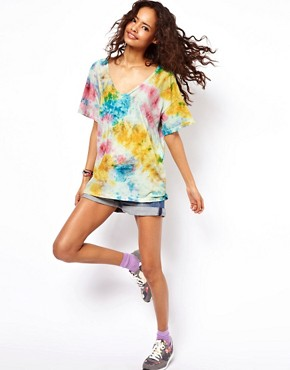 Image 4 ofASOS Square T-Shirt with V Neck in Tie Dye