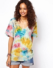 ASOS Square T-Shirt with V Neck in Tie Dye