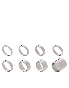 Image 1 ofASOS Pack of 8 Smooth Rings