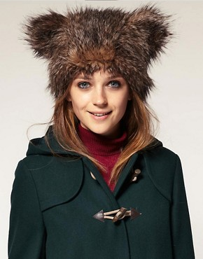 Image 1 of ASOS Faux Fur Bear Ears Hat