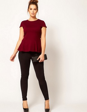Image 4 ofASOS CURVE Exclusive Top With Peplum Hem