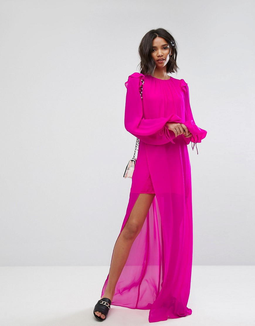 Mango Silk Chiffon Maxi Dress in Bright Pink - Pink