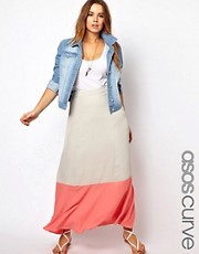 Esclusiva ASOS CURVE - Gonna lunga con bordo a blocchi di colore