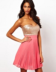 Elise Ryan Sequin Bandeau Dress with Pleated Skirt