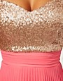 Image 3 of Elise Ryan Sequin Bandeau Dress with Pleated Skirt