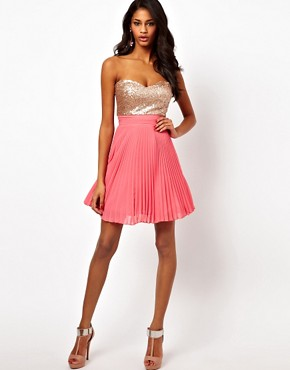 Image 4 of Elise Ryan Sequin Bandeau Dress with Pleated Skirt