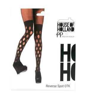 Image 3 ofHouse of Holland Reverse Polka Dot Mock Hold Ups