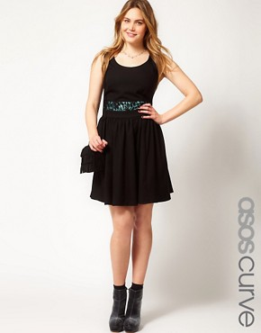 Image 1 of ASOS CURVE Exclusive Fit and Flare Dress With Lace Waist