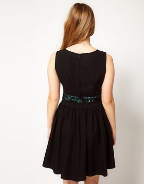 Image 2 of ASOS CURVE Exclusive Fit and Flare Dress With Lace Waist