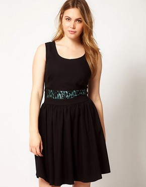 Image 4 ofASOS CURVE Exclusive Fit and Flare Dress With Lace Waist