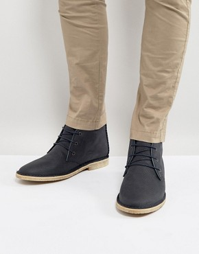 ASOS Desert Boots In Navy Leather With Perforated Detail