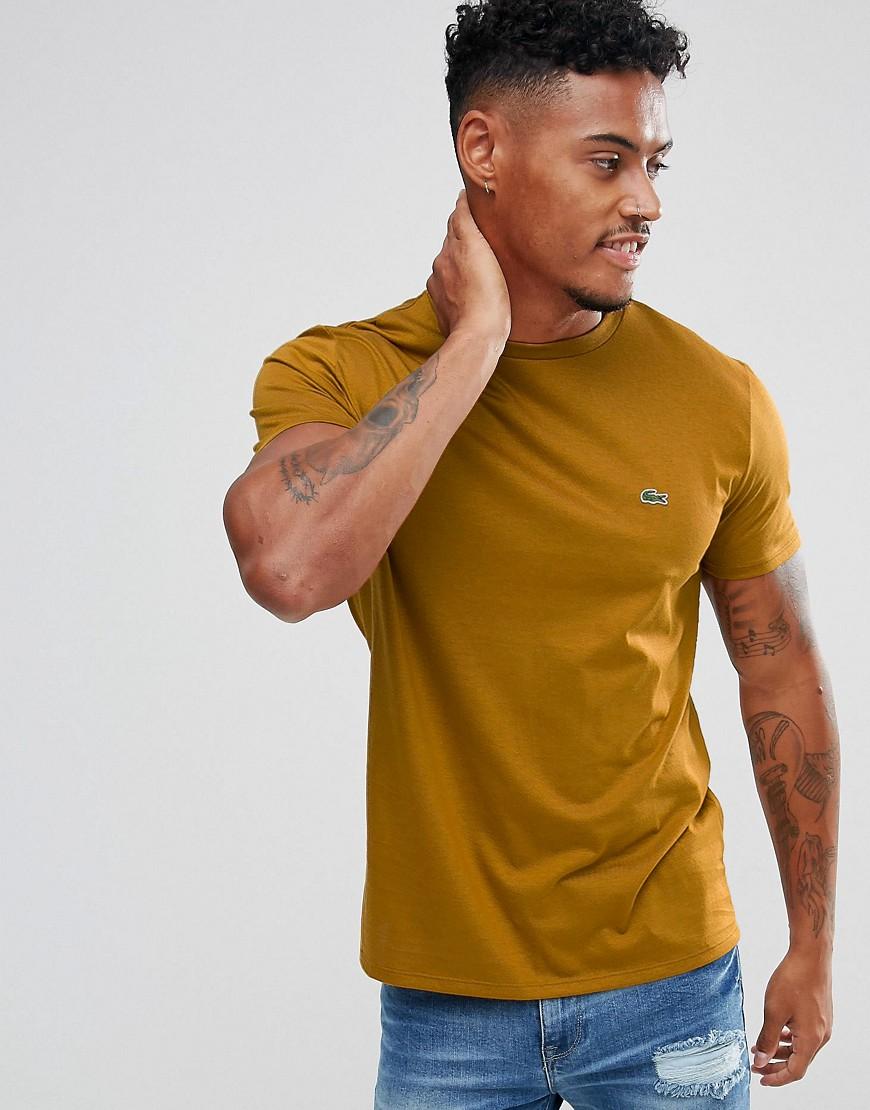 Lacoste Crew Neck Basic Logo T-Shirt In Mustard - Mustard