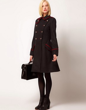 Image 4 ofASOS PETITE Military Fit And Flare Coat