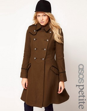 Image 1 ofASOS PETITE Military Fit And Flare Coat