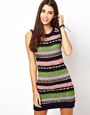 ASOS Knitted  Dress In Stripe Pattern