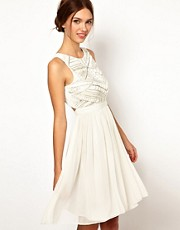 Warehouse Shoulder Detail Embellished Bodice Dress