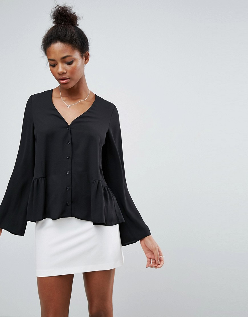 ASOS V Neck Blouse with Ruffle Hem - Black