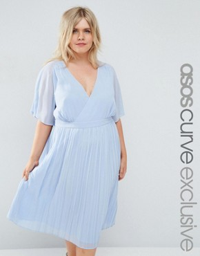 ASOS CURVE Cape Wrap Midi Dress with Pleated Skirt
