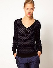 M Missoni Semi Sheer Fine Knit Jumper With Buttons