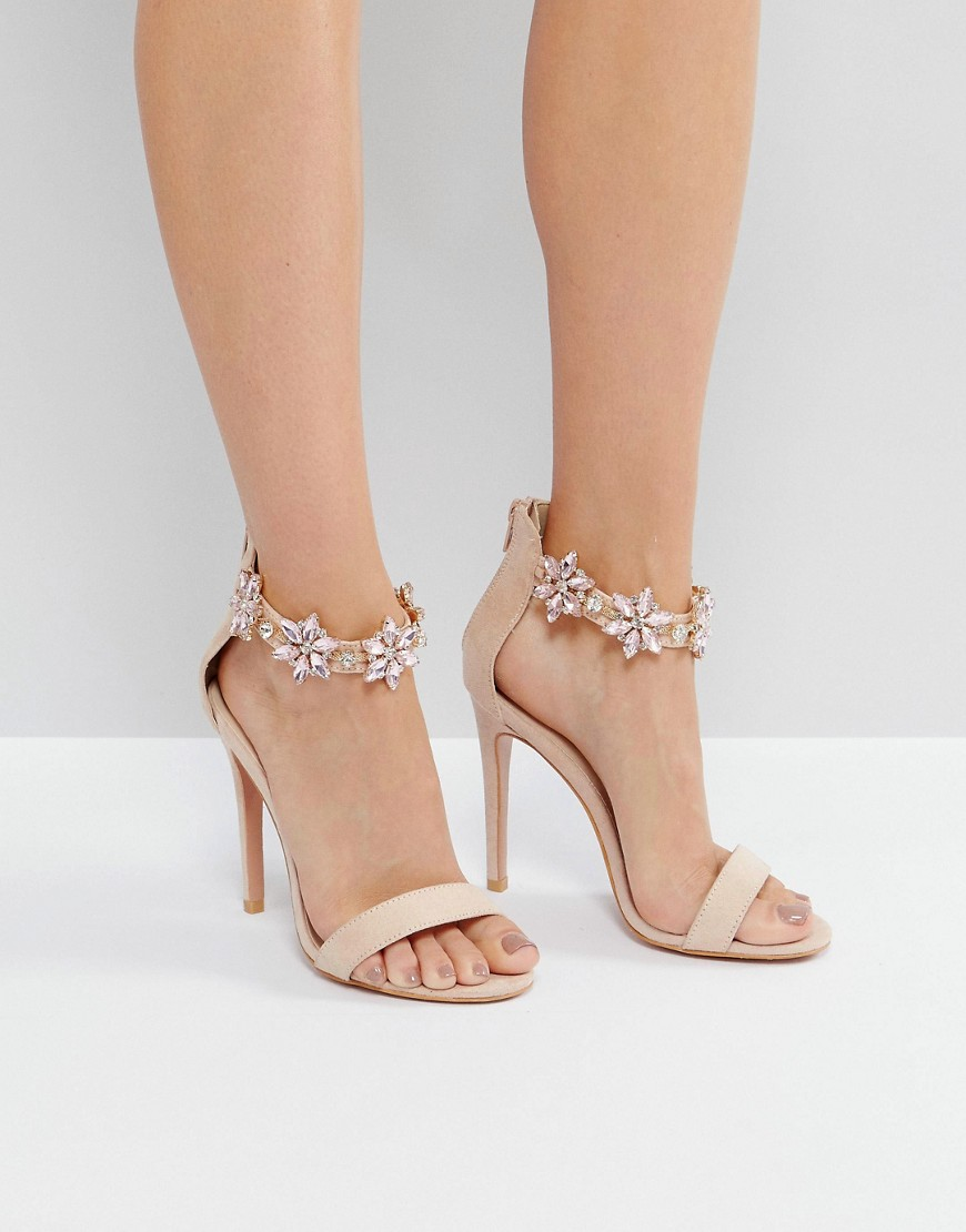 True Decadence Embellished Ankle Strap Heeled Sandals - Dusty pink