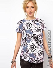 ASOS Maternity Exclusive T-Shirt in Rose Print