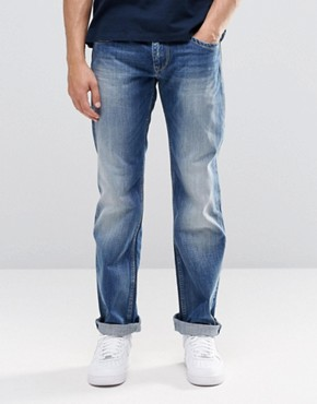 Pepe Hatch Slim Jeans E64 Mid Blue Distressed