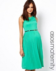 ASOS Maternity Pleated Midi Dress With Belt