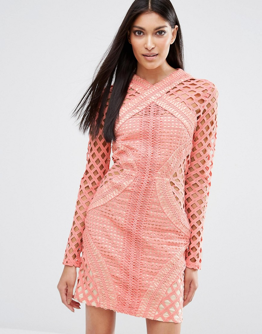 Missguided Long Sleeve Lace Cut Out Dress