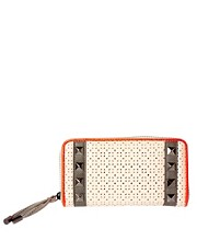 Paul&#39;s Boutique Elsie Perforated Neon Stud Zip Around Purse