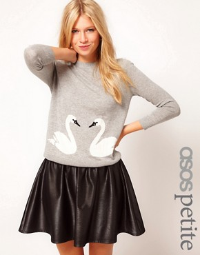 Image 1 ofASOS PETITE Exclusive Jumper With Swan Print