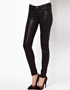 Image 1 ofASOS Wet Look Black Skinny Jeans