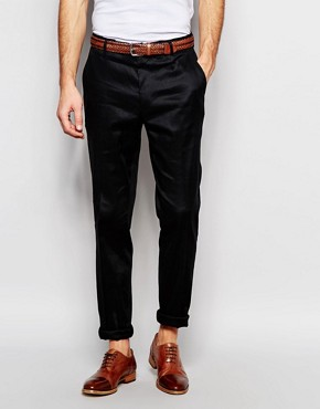 ASOS Smart Skinny Trousers In Black Linen