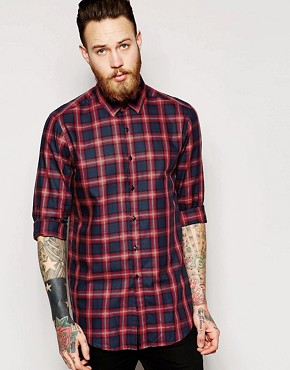 ASOS Shirt In Longline With Tartan Check