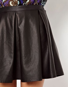 Image 3 ofRiver Island Skirt With Wet Look  Box Pleats