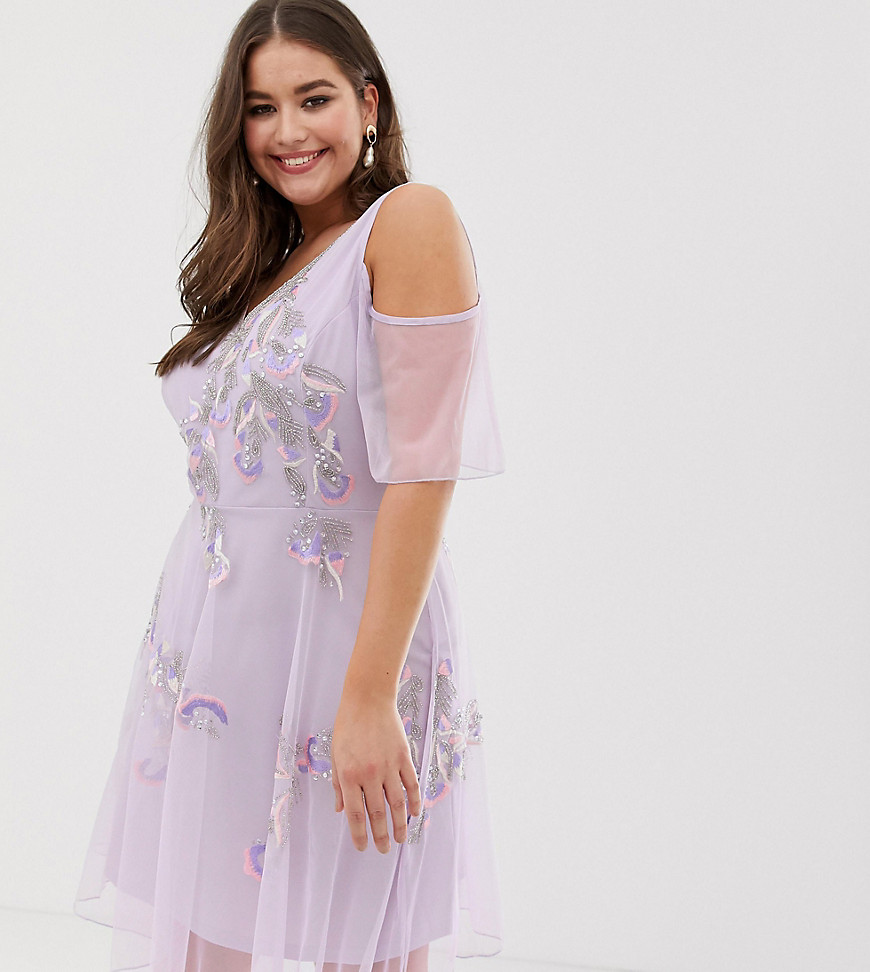 Frock And Frill Plus Embellished Skater Dress With Ruffle Cold Shoulder
