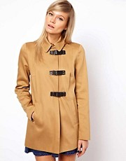 ASOS Duffle Coat With PU Clasp