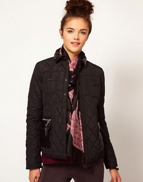 Image 1 of River Island Quilted Jacket With Leather Look Trim