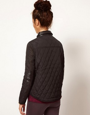 Image 2 of River Island Quilted Jacket With Leather Look Trim