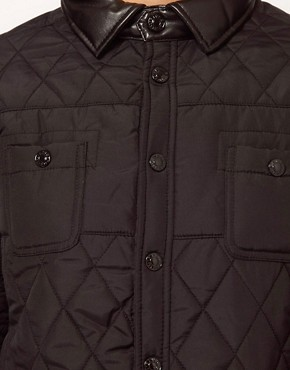 Image 3 of River Island Quilted Jacket With Leather Look Trim