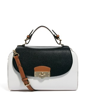 Image 1 ofRiver Island White And Black Evening Bag