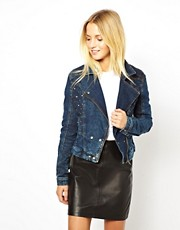 ASOS Denim Biker Jacket with Quilted Stud Detail