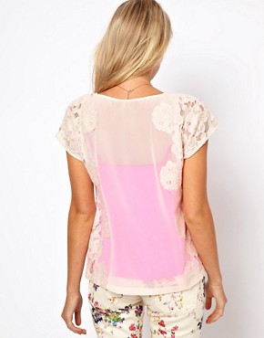 Image 2 ofTed Baker Lace Detail Top with Bright Lining Detail