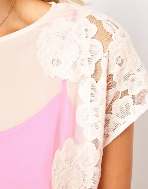 Image 3 ofTed Baker Lace Detail Top with Bright Lining Detail